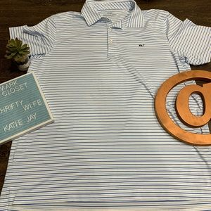 Vineyard Vines Blue Striped polo size Large.